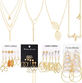 Necklace and Earring Jewelry Set with 24 Pairs Layered Ball Dangle Hoop Stud Earrings and 4 PCS Necklaces of Different Lengths for Women Jewelry Fashion and Valentine Birthday Party Gift,28 Pairs