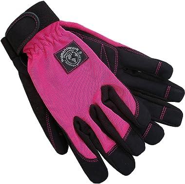 Womanswork Stretch Gardening Glove with Micro Suede Palm, Hot Pink, Medium