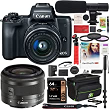 $659 » Canon EOS M50 Mirrorless Camera with 4K Video and EF-M 15-45mm Lens Kit (Black) and Deco Gear Deluxe Travel Gadget Bag Case + Microphone + Monopod + Filter Set + 64GB Memory Card Accessory Kit Bundle