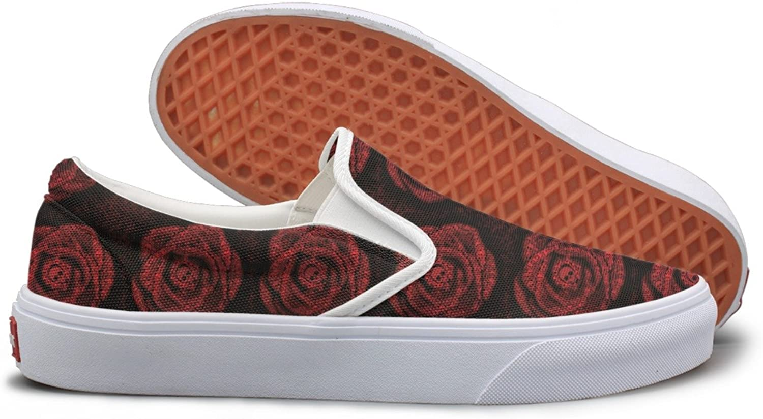 Red pink Of Skulls And Bones Canvas shoes Women Slip On