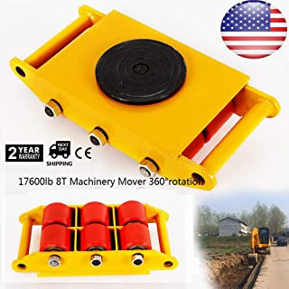 8T 17600lb Industrial Machine Dolly Skate Roller Machinery Mover 360° Rotation Cap