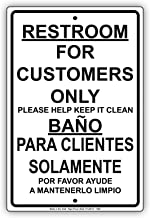 Restroom For Customers Only Please Help Keep It Clean Sign Solid Material Aluminum Metal Signboard 8