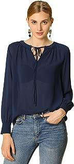 Allegra K Women's Tie Neck Blouse Long Sleeve Semi Sheer Chiffon Top