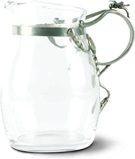 Vagabond House Water/Juice Pitcher Glass with Pewter Dragonfly Handle 7.75