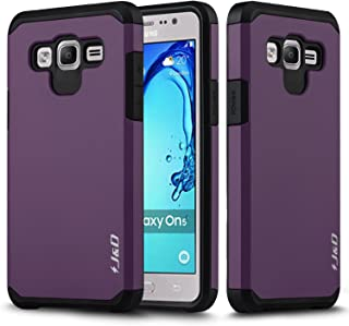 J&D Case Compatible for Galaxy On5 Case, Heavy Duty [Dual Layer] Hybrid Shock Proof Protective Rugged Bumper Case for Samsung Galaxy On5 Case - Purple