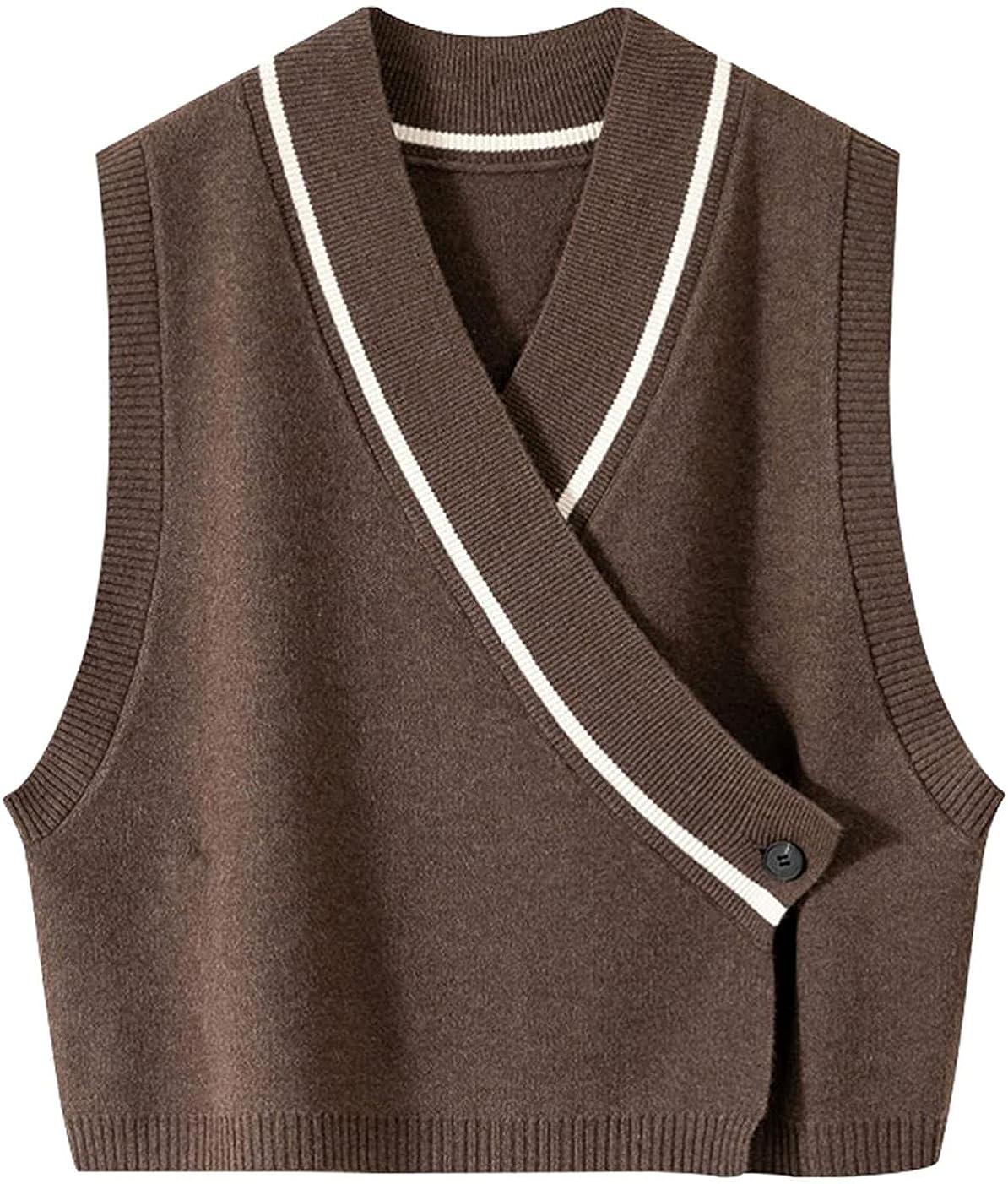 WSBD Women's V Neck Solid Color Sleeveless Knit Sweater Vest