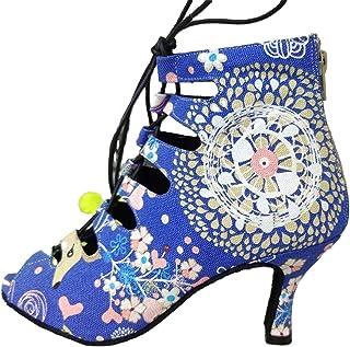 Dames hoge hak lace-up peep teen bloemen satijn salsa tango balzaal Latin moderne dans bruiloft dans schoenen