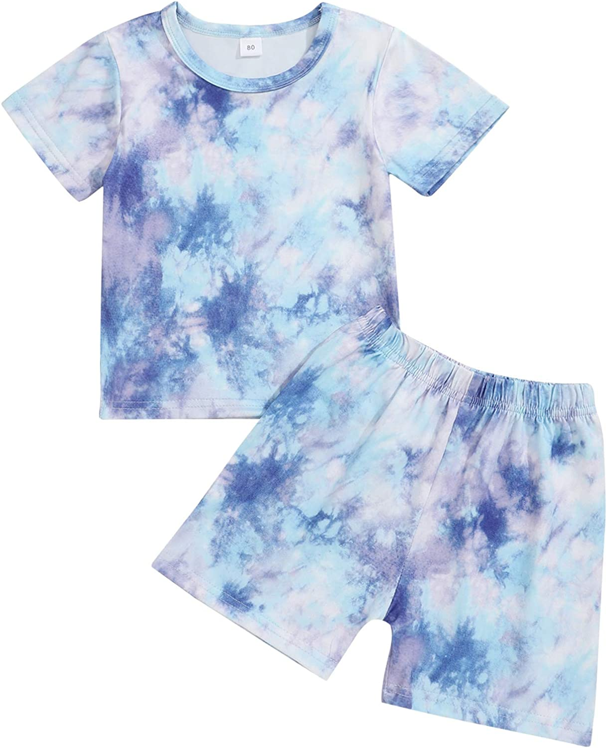 bilison Baby Girl Clothes Toddler Baby Tie Dye Sweatshirt+Long Pant Little Girl Outfit Sets
