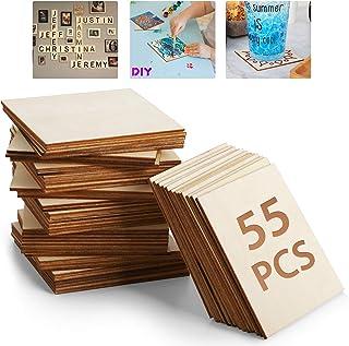 Lot de 55 Planche de Bois brut 10,2 x 10,2 cm Tranches de Bois Naturelles Vierges, Carré de Bois pour Bricolage, Peinture,...