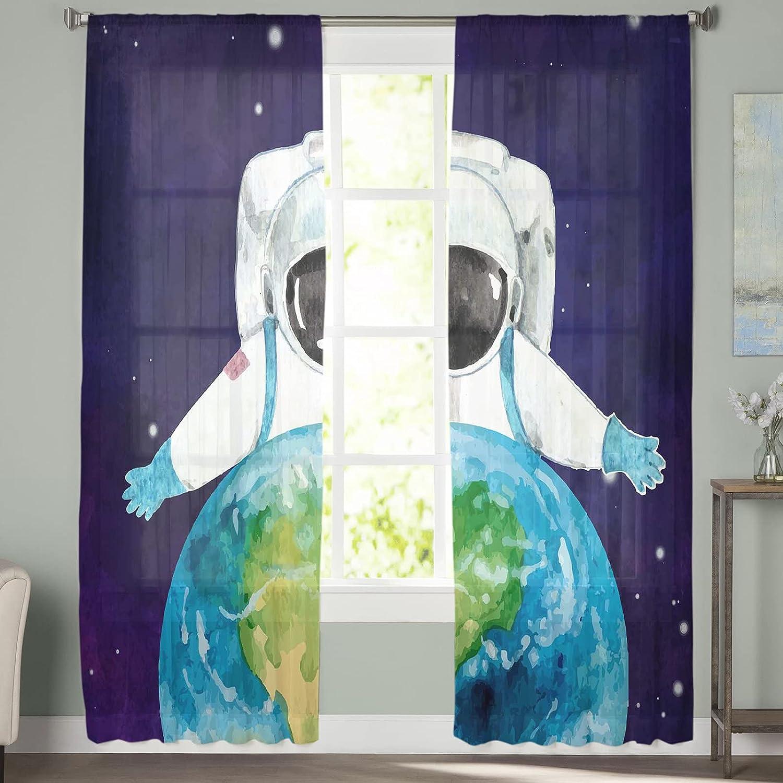2pc Set Sheer New life sale Curtains for Universe Bedroom Windows Rod Pocket