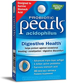 Nature's Way Probiotic Pearls Acidophilus (formerly Acidophilus Pearls), 30 Softgels, 30Count (Packaging May Vary)