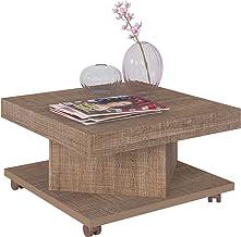 Artely Saara Coffee Table with Casters, Cinnamon Brown, W 63 cm x D 63 cm x H 33.5 cm