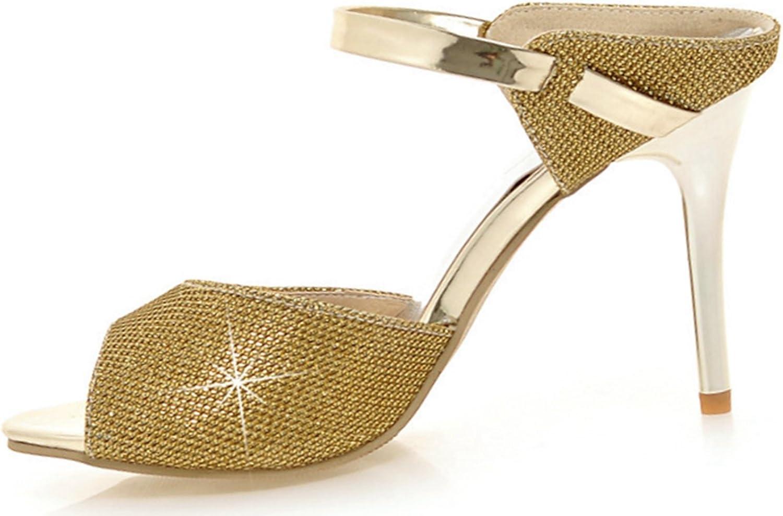 DoraTasia Women's Fashion Bright Diamond Decoration High Heels Open Toe Stiletto Slingback Straps Sandals