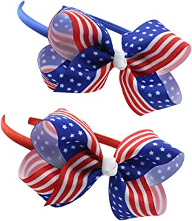 BinaryABC 4th of July Headband,American Flag Bow Headband,Patriotic Headband,Independence day decoration 2Pcs(2) (244)