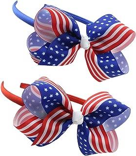 BinaryABC 4th of July Headband,American Flag Bow Headband,Patriotic Headband,Independence day decoration 2Pcs(2 Different Styles) (244)