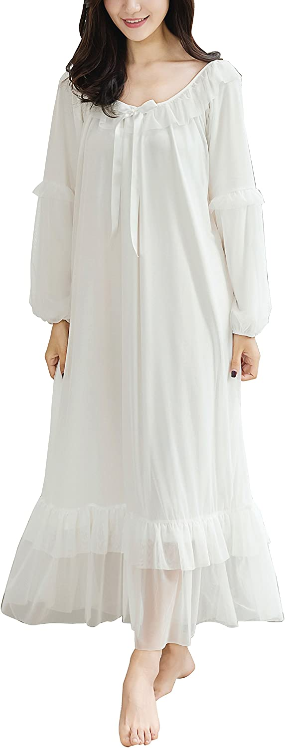 Camellia12 Womens Victorian Style Long Mesh Nightgown,Long Sleeve Wedding Nightie Sleepwear