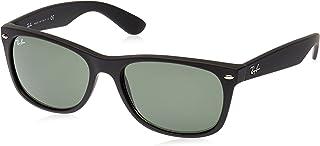 Ray-Ban Men's New Wayfarer Square Sunglasses, Black Rubber, 58 mm