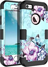 Casetego Compatible iPhone 5 5S SE Case,Floral Three Layer Heavy Duty Hybrid Sturdy Armor Shockproof Full Body Protective Cover Case for Apple iPhone 5 5S SE,Blue Flower