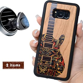 iProductsUS Wood Phone Case Compatible with Samsung Galaxy S8 Plus and Magnetic Mount, UV Print Colorful Guitar, Built-in Metal Plate, TPU Rubber Shockproof Covers (S8+, 6.2 inch)