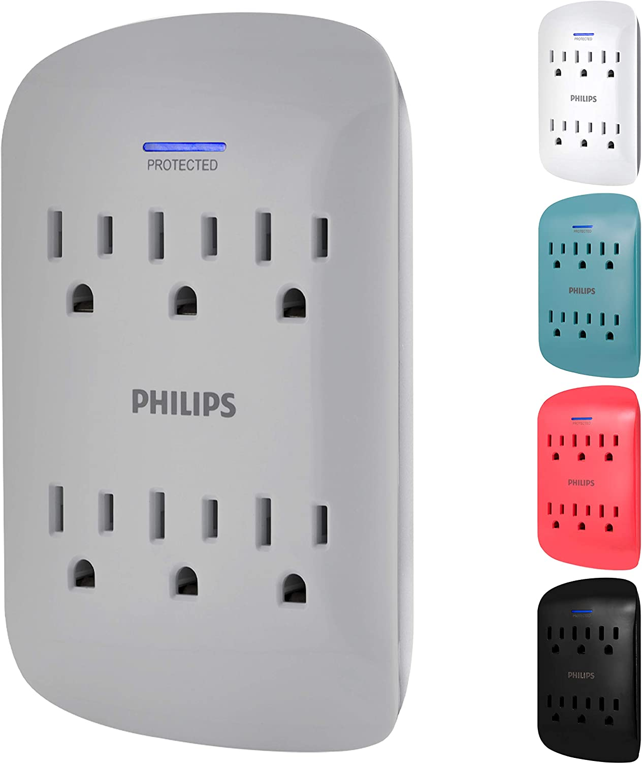 Philips 6-Outlet Extender Surge Protector, 900 Joules, 3-Prong, Space Saving Design, Protection Indicator LED Light, Grey, SPP3461GR/37, 1 Pack