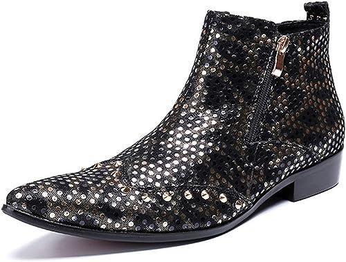 XWQYY Robe de Ville Martin bottes England Chaussures Chaussures Chaussures Montantes en Cuir montées Bottes pour Hommes Pointues Bottes en Cuir pour Hommes Bottes à la Mode,noir-43EU 1fa