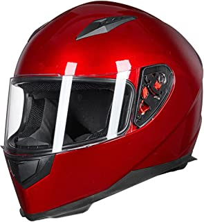 ILM Full Face Motorcycle Street Bike Helmet with Removable Winter Neck Scarf + 2 Visors DOT (M, Red)