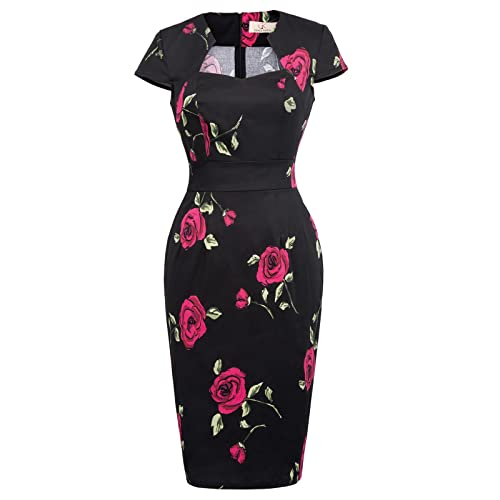 d929f5a0d4fc GRACE KARIN Women s 50s Vintage Pencil Dress Cap Sleeve Wiggle Dress CL7597