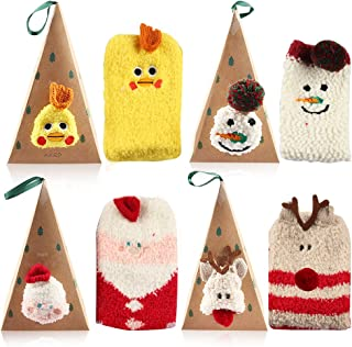 Vanmor 4 Pairs Warm Fuzzy Socks for Women Girls Kids Fun Christmas Socks Cute Fuzzy Animal Socks with Triangle Box