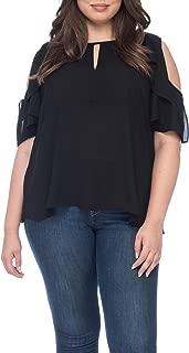 Bobeau Pamela Plus Size Cold Shoulder Frill Blouse Black