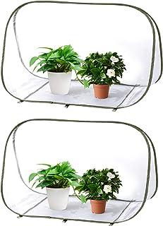 "EBaokuup 2 Pack Mini Pop up Greenhouse, 35.4"" x 20.4"" x 24.4"" Foldable Mini Gardening Flowerpot Cover, Small Backyard PVC ..."