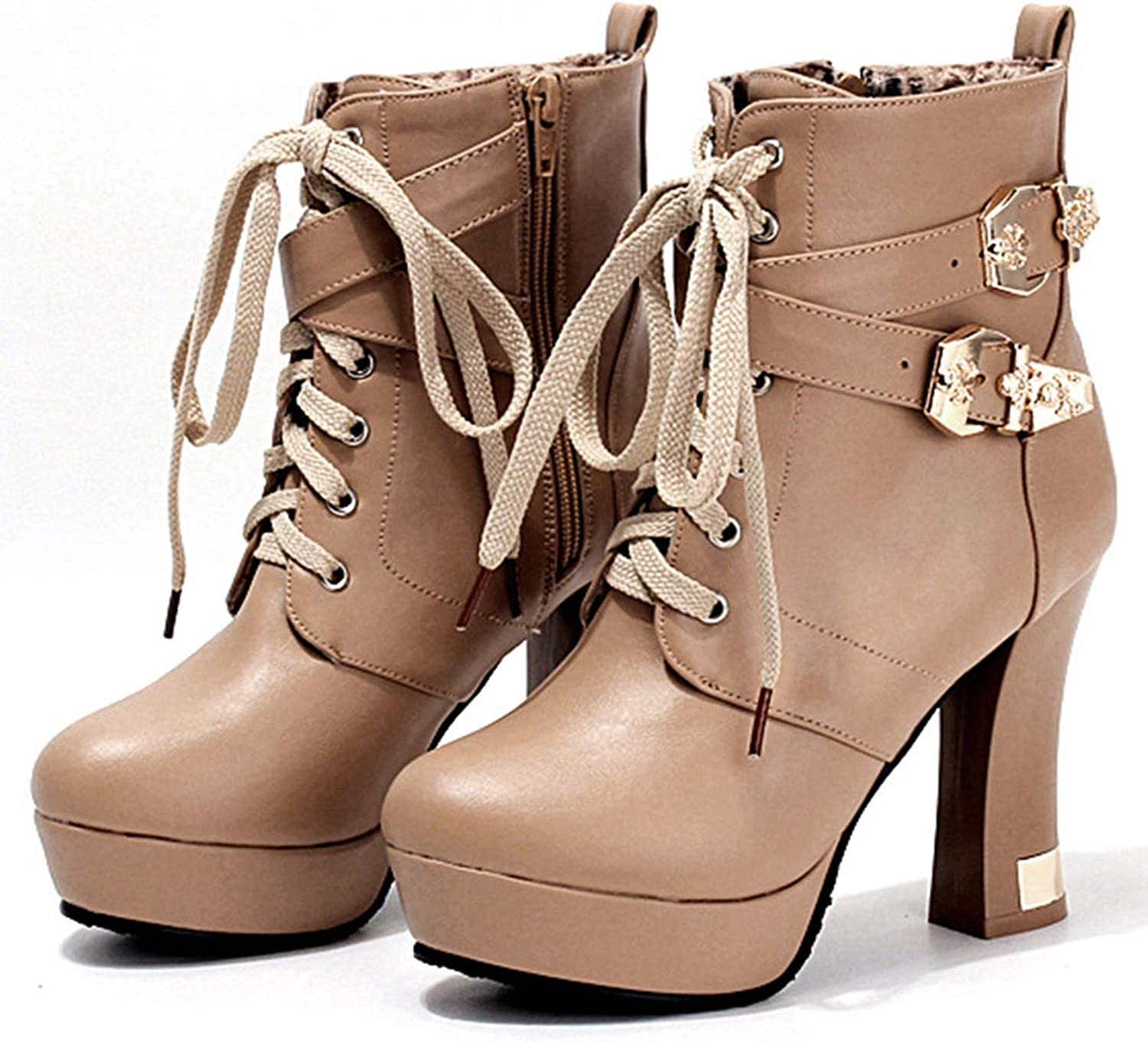 Lace up Equestrian Ankle Boots High Hoof Heels shoes Round Toe Cross-Tied Buckle Riding Boot