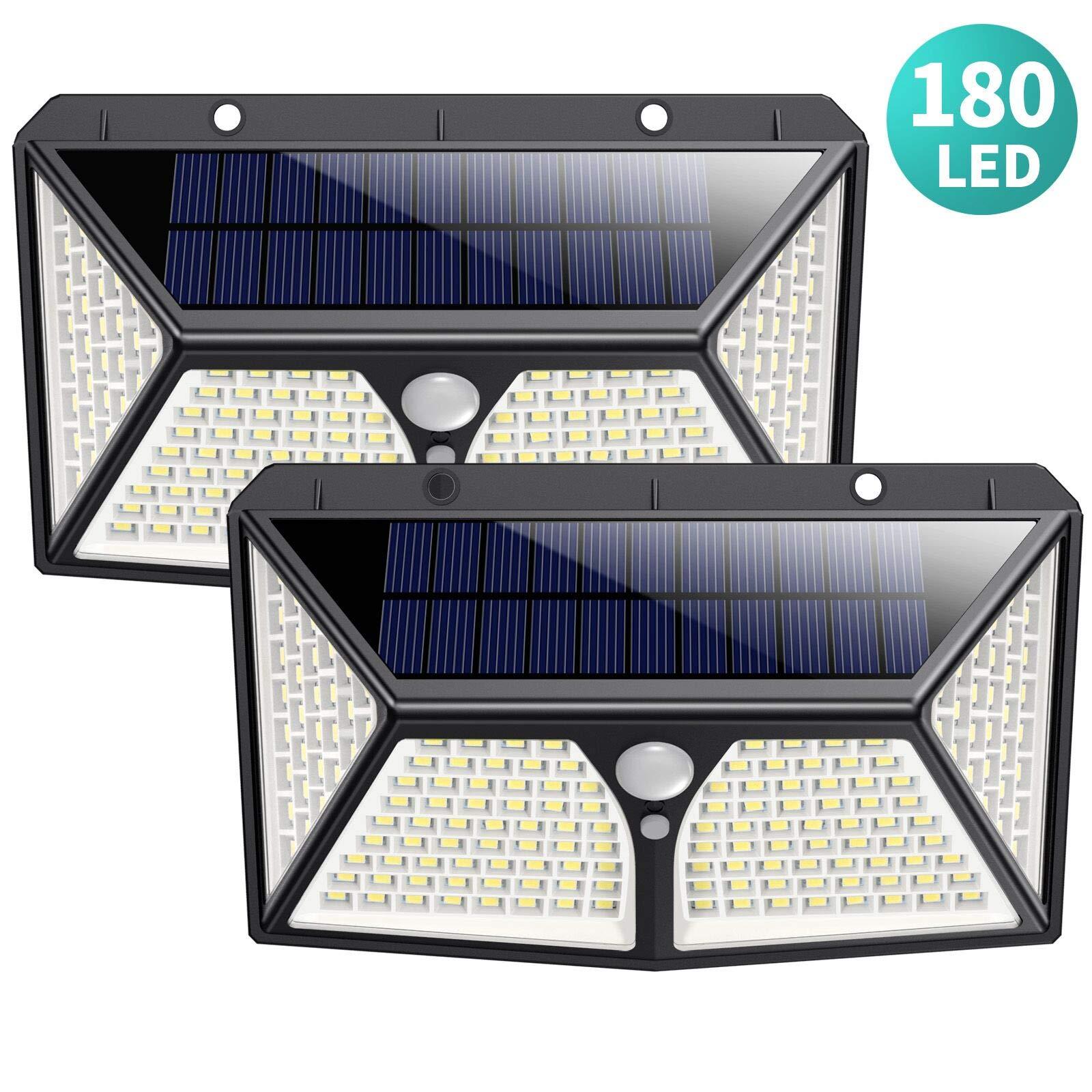 180 LED Luz Solar Exterior,HETP【2019 Versión de Ahorro Energía 】Luces Solares con Sensor de Movimiento Lámpara Solar Impermeable Iluminación Exterior led Foco Solar para Exterior Jardin Garaje: Amazon.es: Iluminación