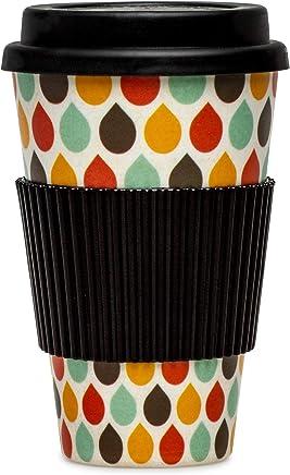 Preisvergleich für SIKORA CUP003 Coffee to Go Becher 400ml aus nachhaltiger Bambusfaser 100% BPA frei, Modell/Farbe:Tropfen bunt