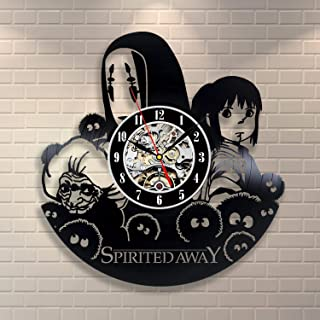 Wood Crafty Shop Spirited Away Anime Movie Design Vinyl Record Wall Clock Gift for Him and Her Unique Wall Decor The Best Gift Idea for Any Event Birthday Gift, Wedding Gift