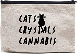 Chillake Funny Crystal Natural Cotton Canvas Zipper Pouch | Crystal Bag Weed Pouch Gifts for Cat Lovers/Crystal Lover/Wome...