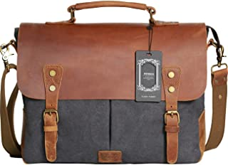 Wowbox Messenger Satchel Bag for Men and Women,Vintage Canvas Real Leather 14-inch Laptop..