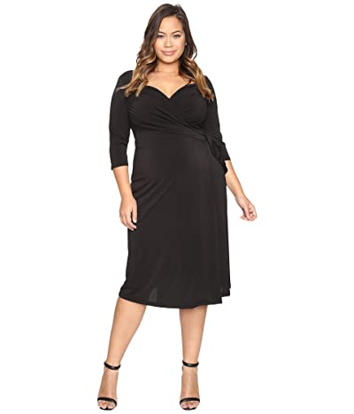 Kiyonna Sweetheart Knit Wrap Dress (Black Noir) Women