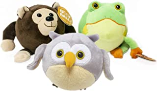 Goofballz Plush Stuffed Animals 3-Pack | Forest Owl, Tree Frog, and Bear for Boys and Girls All Ages | Adorable, Soft, Cute and Cuddly Kids Toys | Stuffed Animal Bundle, 6 inches Each