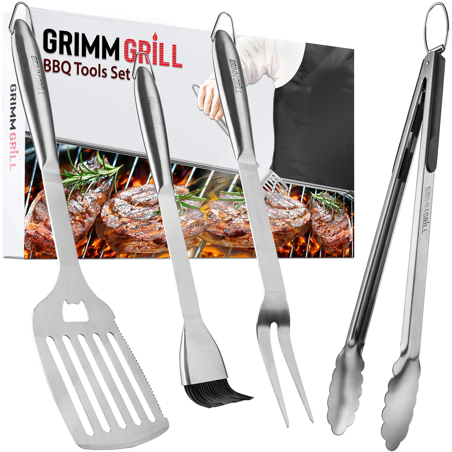 Black Leonyo BBQ Grill Tools Set Basting Brush for Men 18-inch Extra-Long Barbecue Grilling Utensils Set Tong Extra-Thick Stainless Steel Grill Spatula Fork Dishwasher Safe Gift Box Package