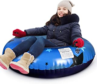 Kupton Inflatable Snow Tube for Sledding, Snow Sleds for Kids and Adults, Heavy Duty 47 Inch Large Size Snow Tubes with Strong Handles, Thickening Freeze-Proof & Wear-Resistant Material