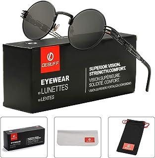 cdf067d50ec DeBuff Retro Round Steampunk Sunglasses John Lennon Hippie Glasses