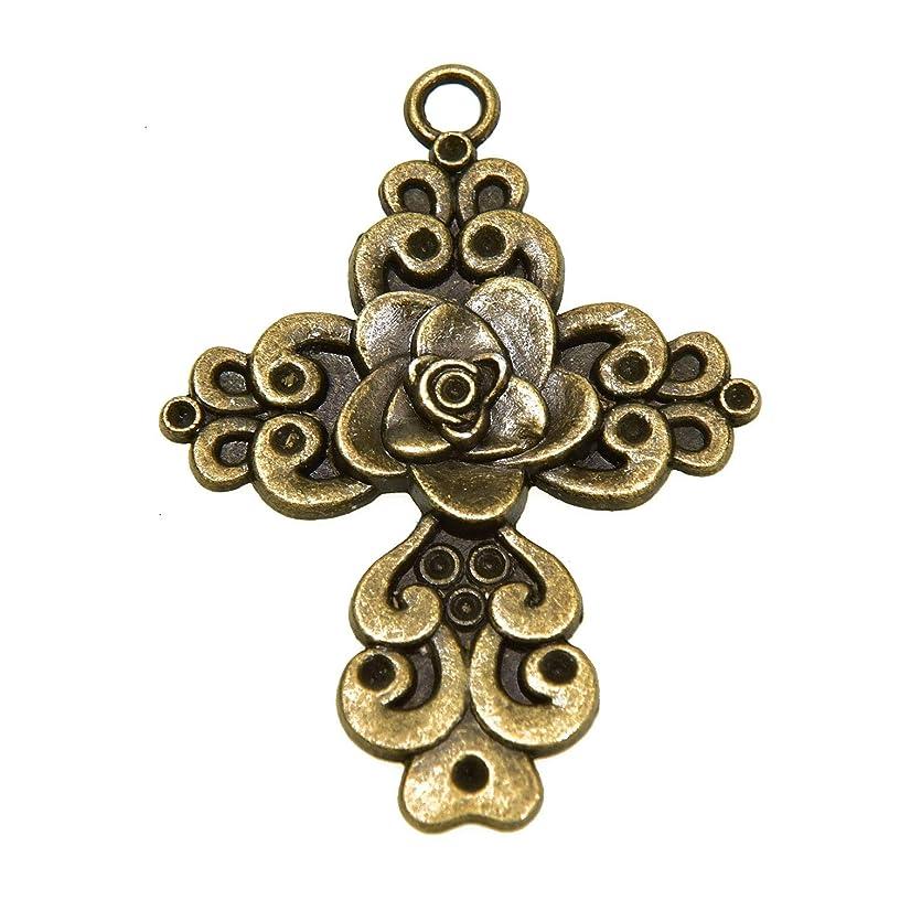 Monrocco 20Pcs Rose Jesus Cross Pendants Charms for Bracelet Earrings Necklace Making,Antique Bronze urje566941199907