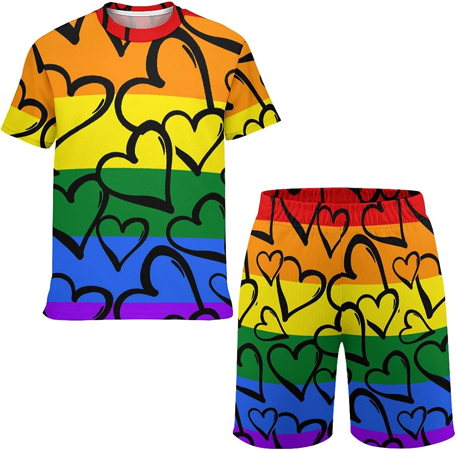 NiYoung Boys/Girls LGBT Pride Rainbow Flag Love Hearts T-Shirt and Shorts Sets Tracksuit Playwear Outfits Hoodies Housework Clothing