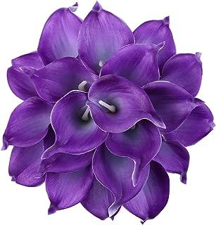 Leagel Calla Lily Bridal Wedding Bouquet Head Lataex Real Touch Flower Bouquets (20, Purple)