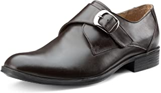 Escaro Men's 100% Genuine Leather Brown Formal Monk Shoes
