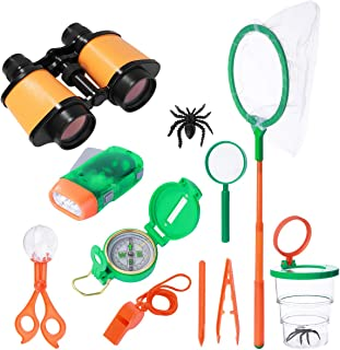 iBaseToy Adventure Kit for Kids, 13Pcs Nature Educational Explorer Kit Children Outdoor Exploration Toys for Camping, Hiking, Include Binoculars, Compass, Magnifying Glass and Backpack