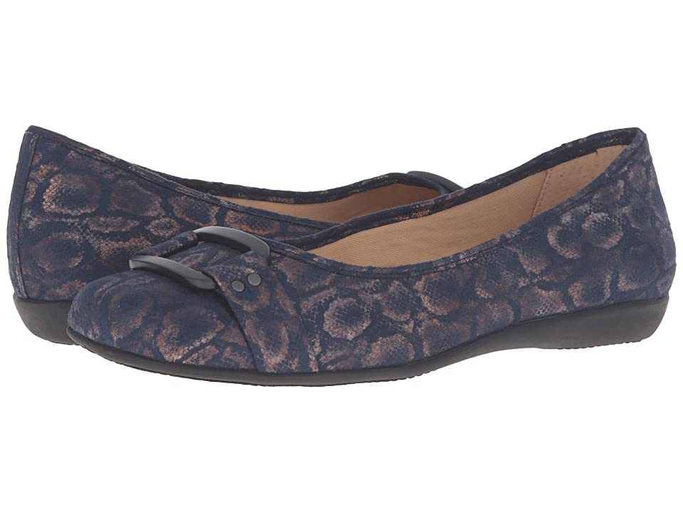Trotters Sizzle (Navy Washed Metallic Microfiber Suede) Women