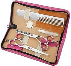 Hair Scissors Professional Hairdressing Scissors Round Head Flat Cut Bangs Cut Teeth Cut Thin Cut Home Haircut Tools Set Scissors (Color : Pink)