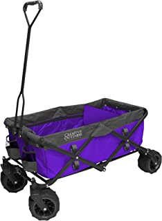 Creative Outdoor Distributor All-Terrain Folding Wagon, (Purple) - Divider Included - Multipurpose Cart Gardening, Camping, Beach Trips Travelling