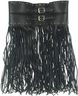 Womens Faux Leather Long Fringe Wide Belt